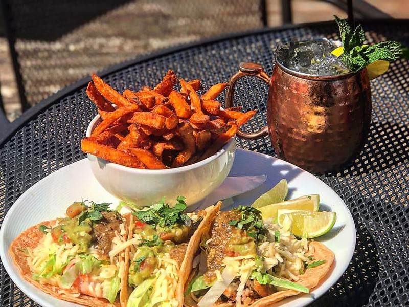 Tacos with Sweet Potato Fries and Moscow Mule
